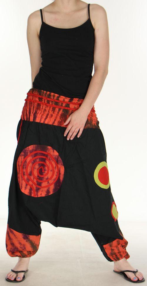 Très beau Sarouel femme original et coloré Noir Ubwa 273149