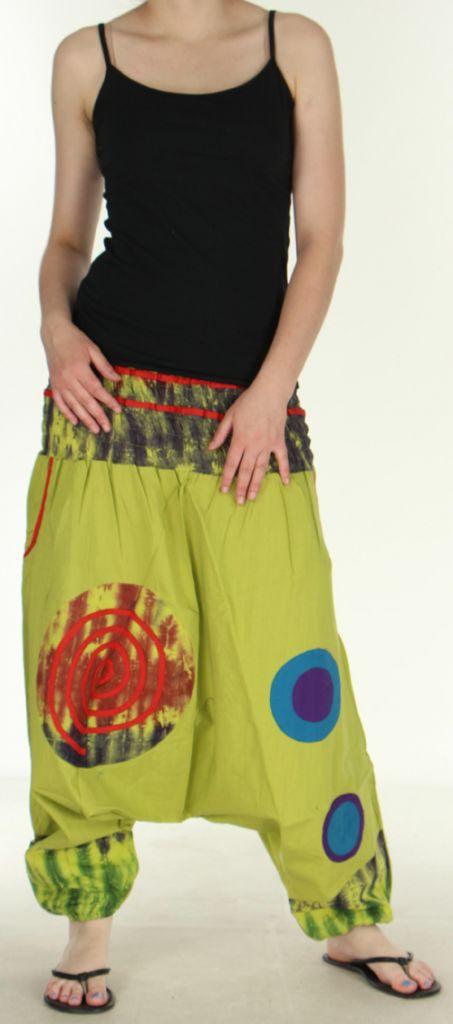 Très beau Sarouel femme original et coloré Vert Anis Ubwa 273143