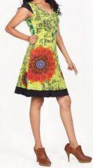 Très jolie robe courte d'été et originale - col V - Anis - Xavia 272061