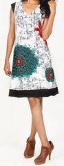 Tr�s jolie robe courte d'�t� et originale - col V - Blanche - Xavia 272057