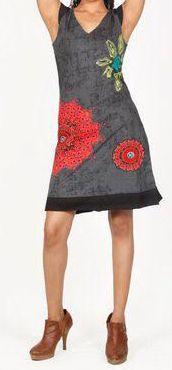 Très jolie robe courte d'été et originale - col V - Noire - Xavia 272059