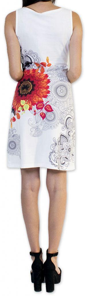 Très jolie robe courte originale et imprimée Blanche Auréllia 273260