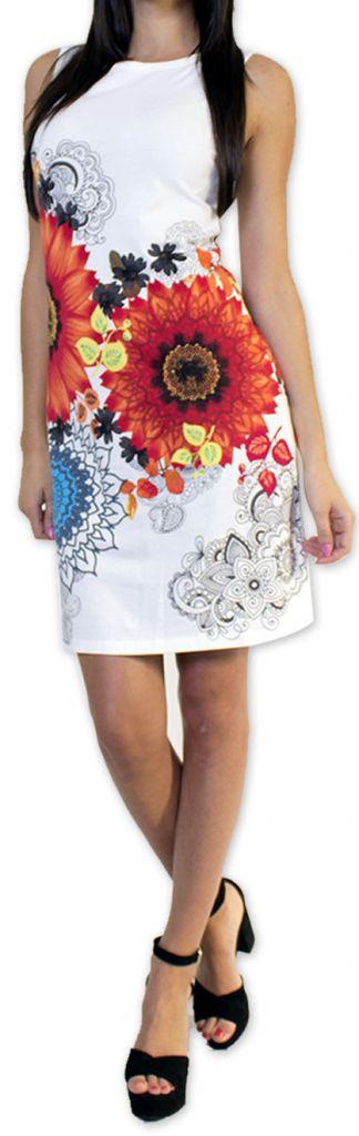 Très jolie robe courte originale et imprimée Blanche Auréllia 273261
