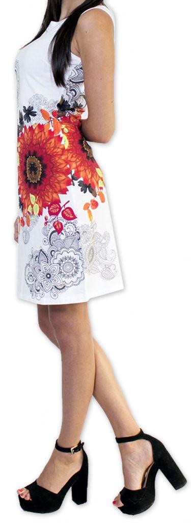 Très jolie robe courte originale et imprimée Blanche Auréllia 273262