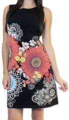 Tr�s jolie robe courte originale et imprim�e Noire Aur�llia 273263