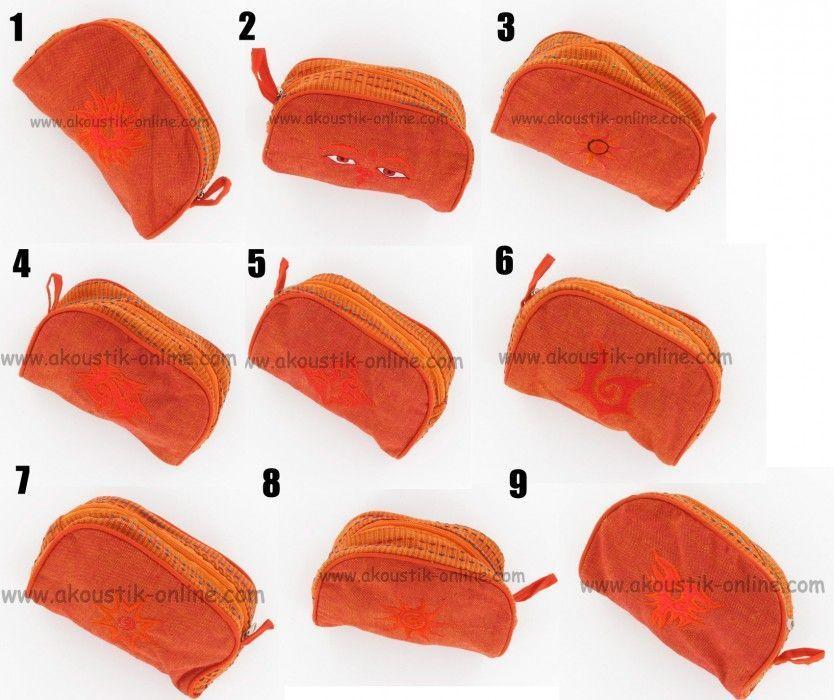 Trousse Coton brodée Orange 237762
