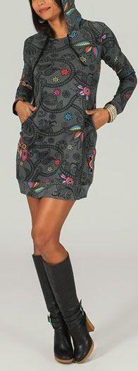 Tunique à capuche colorée et ethnique Gris Léliot 273888
