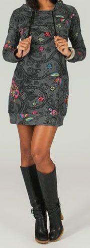 Tunique à capuche colorée et ethnique Gris Léliot 273889