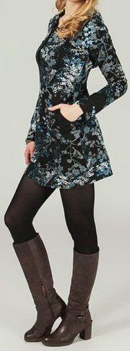 Tunique à capuche colorée et ethnique motifs Bleutés Léliot 273887