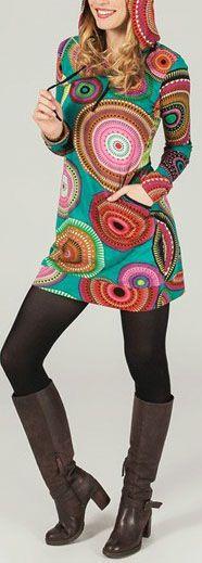 Tunique à capuche colorée et ethnique Multicolore Lancelot 273871