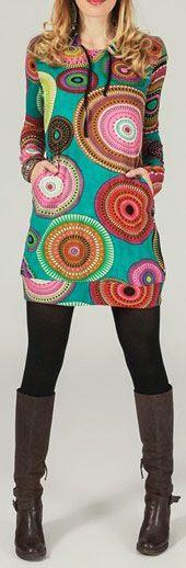 Tunique à capuche colorée et ethnique Multicolore Lancelot 273872