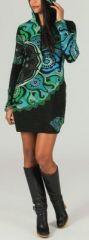 Tunique à capuche colorée et ethnique Noire & Bleue Léliot 273893