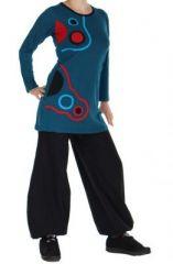 Tunique � manches longues du N�pal lalita bleue 265118