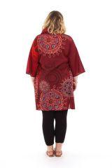Tunique avec étole intégrée Originale et Ethnique Callas Bordeaux 284571