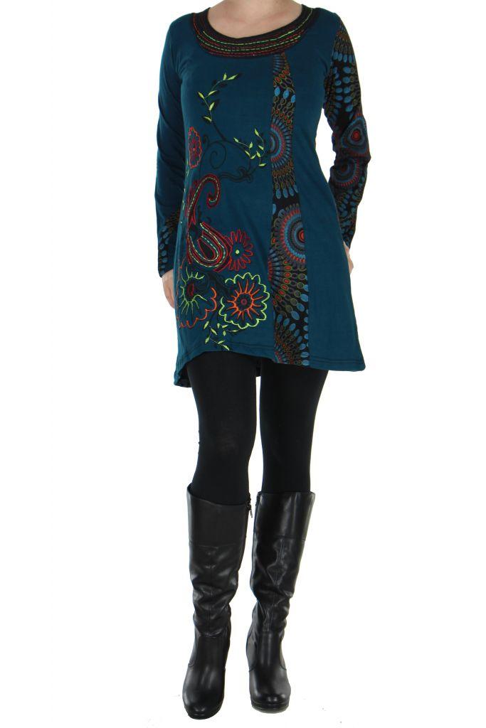 Tunique bleue à manches longues Kamilia 266602