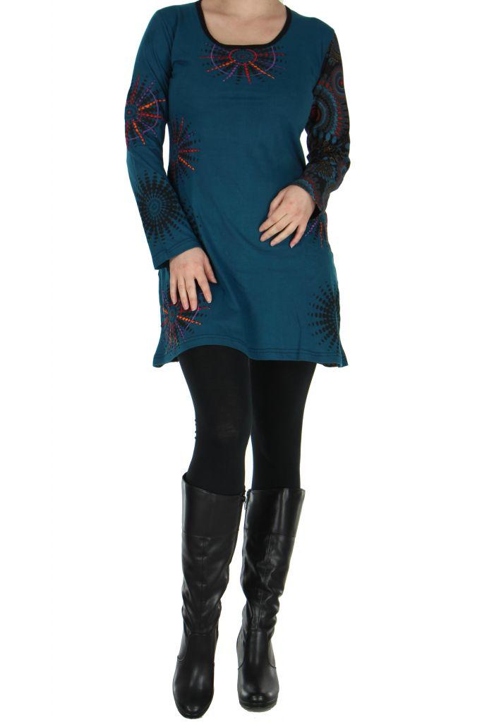 Tunique bleue avec broderie Cécilia 266576