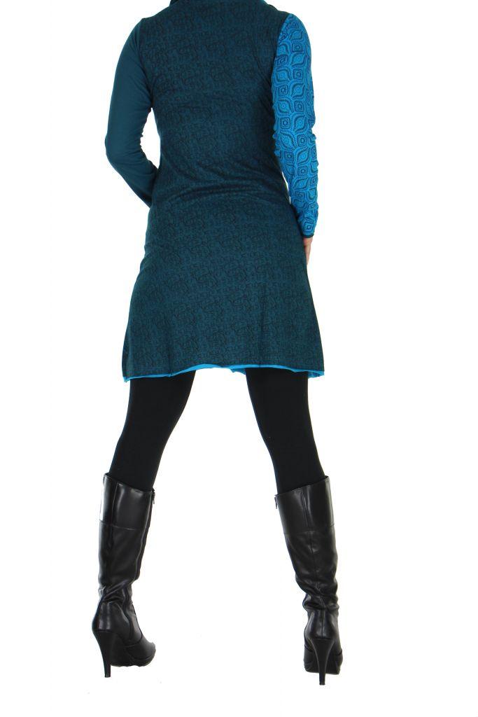 Tunique bleue col boule Mangana 266595