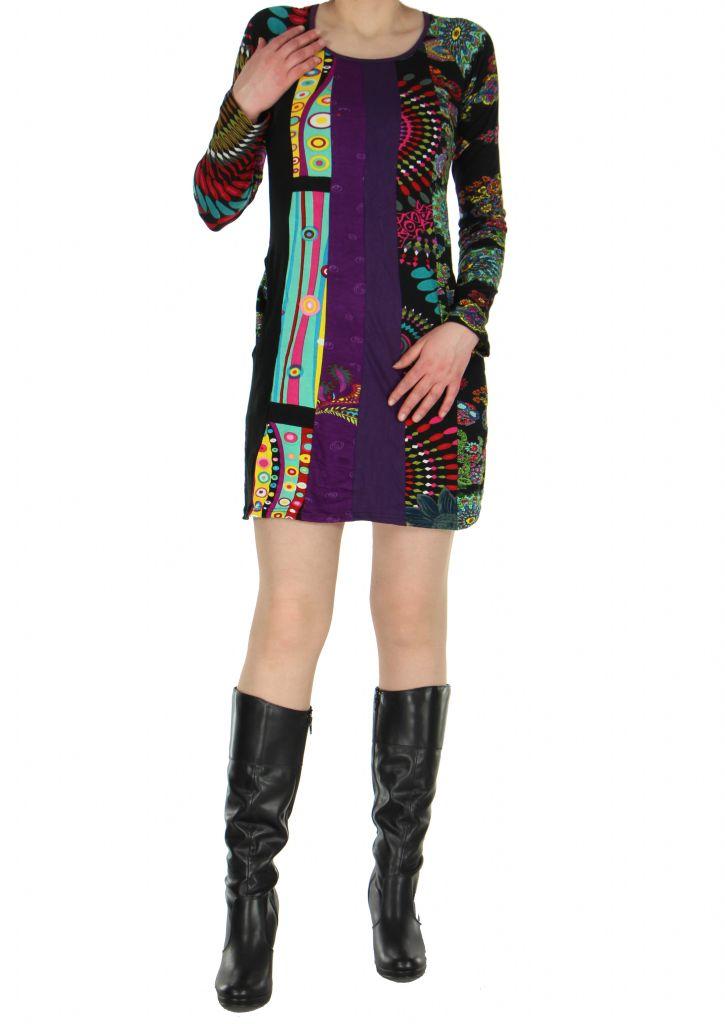 Tunique colorée Valéria noire 267153