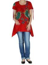 Tunique d\'�t� imprim�e rouge Erina 268493