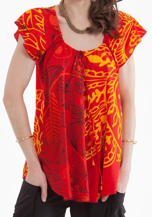 tunique dt rouge manches courtes originale et colore annie 281253 - Tunique Colore Femme
