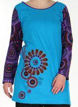 Tunique d'hiver Ethnique et Colorée à manches longues Lisma Bleue 279171