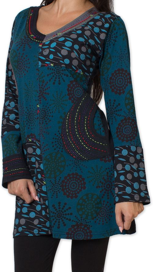 Tunique d'hiver pour Femme Ethnique et Colorée Kapouas Bleue 277568