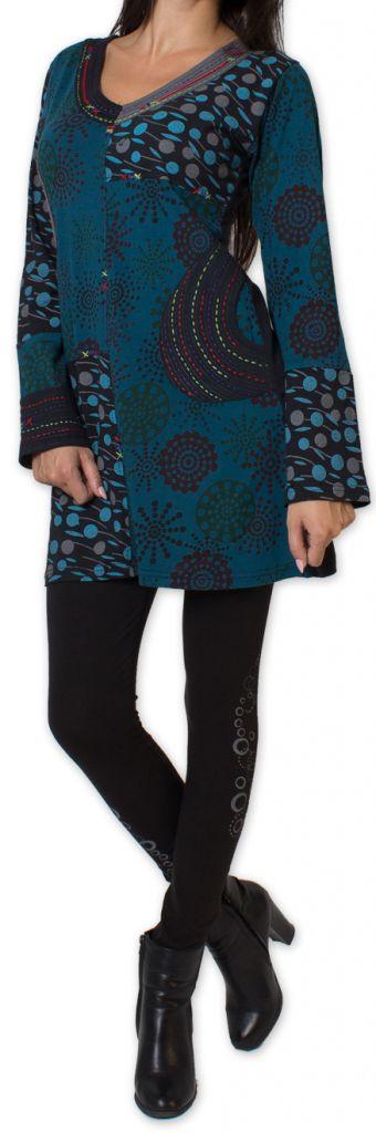 Tunique d'hiver pour Femme Ethnique et Colorée Kapouas Bleue 277569