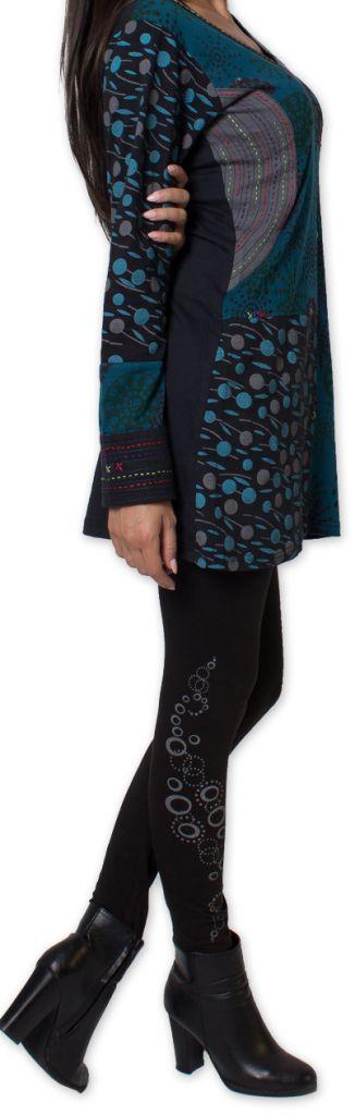 Tunique d'hiver pour Femme Ethnique et Colorée Kapouas Bleue 277570