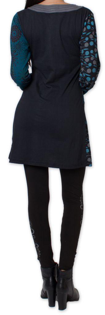 Tunique d'hiver pour Femme Ethnique et Colorée Kapouas Bleue 277571