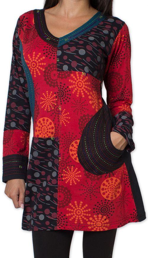 tunique d hiver pour femme ethnique et coloree kapouas rouge. Black Bedroom Furniture Sets. Home Design Ideas