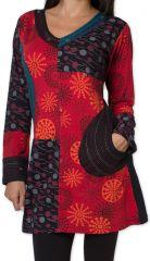 Tunique d'hiver pour Femme Ethnique et Colorée Kapouas Rouge 277564
