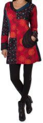 Tunique d'hiver pour Femme Ethnique et Colorée Kapouas Rouge 277565