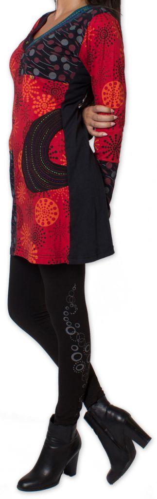 Tunique d'hiver pour Femme Ethnique et Colorée Kapouas Rouge 277566