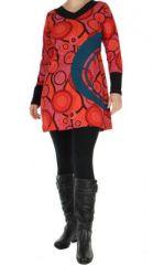Tunique ethnique � manches longues enoa rouge 265085