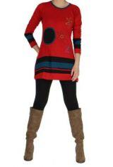 Tunique ethnique � manches longues meleo rouge 265033