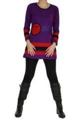Tunique ethnique � manches longues meleo violette 265031