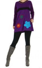 Tunique ethnique � manches longues melya violet 265099