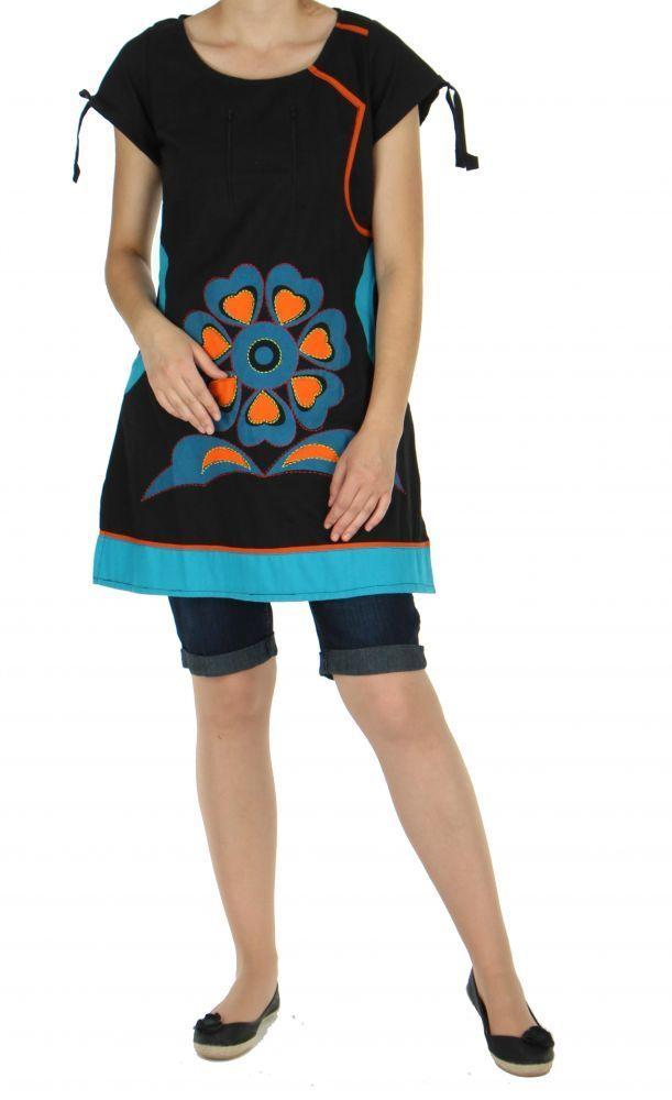 Tunique ethnique broderie floral noire 246810