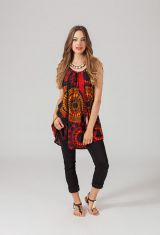 Tunique ethnique noire et rouge Mandarina 318829