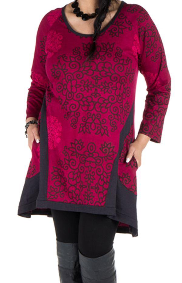 Tunique ethnique rose à manches longues Dipendra 301503