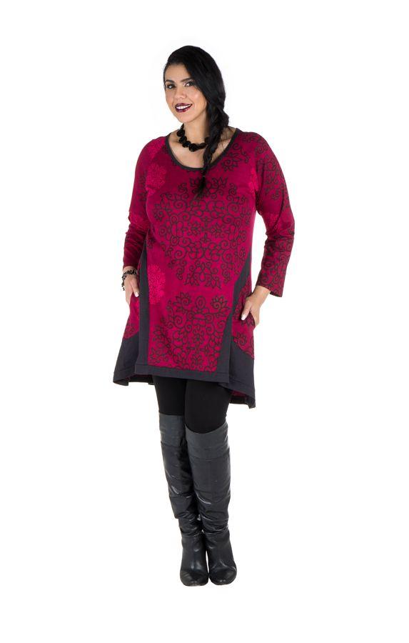 Tunique ethnique rose à manches longues Dipendra 301504