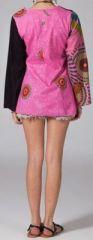 Tunique ethnique rose à manches longues en coton Milla 270745