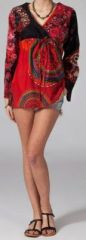 Tunique ethnique rouge � manches longues en coton Milla 270746
