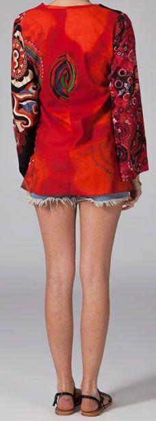 Tunique ethnique rouge à manches longues en coton Milla 270747