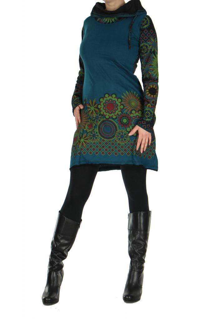 Tunique femme ethnique bleue najali 266403