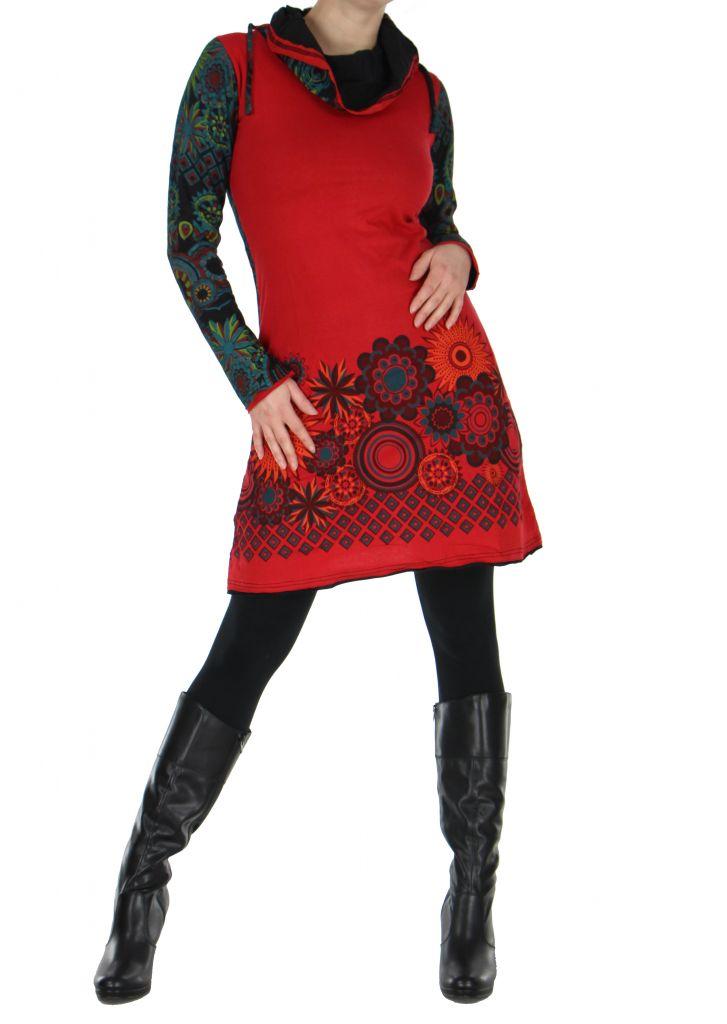 Tunique femme ethnique rouge najali 266395