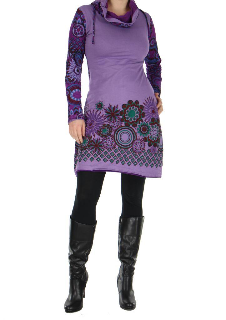 tunique femme ethnique violette najali 266397 - Tunique Colore Femme
