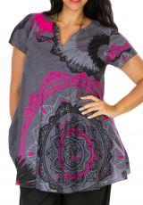 Tunique femme grande taille look casual grise et rose Alexanne 306360