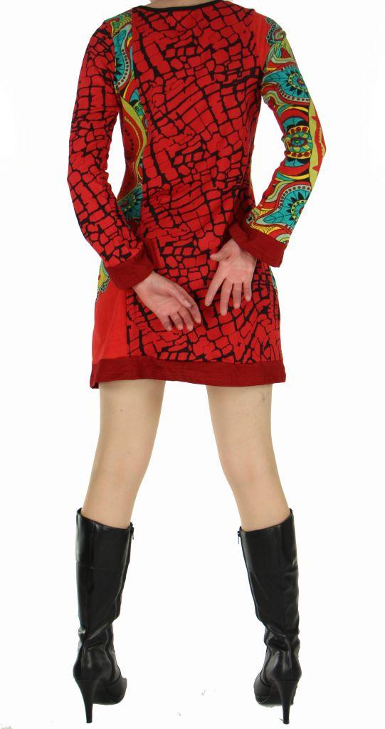 Tunique femme imprimée nubik rouge 266881