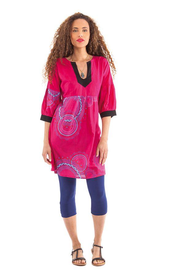 Tunique Femme Originale et Colorée au col oriental Ikasta Rose 281795